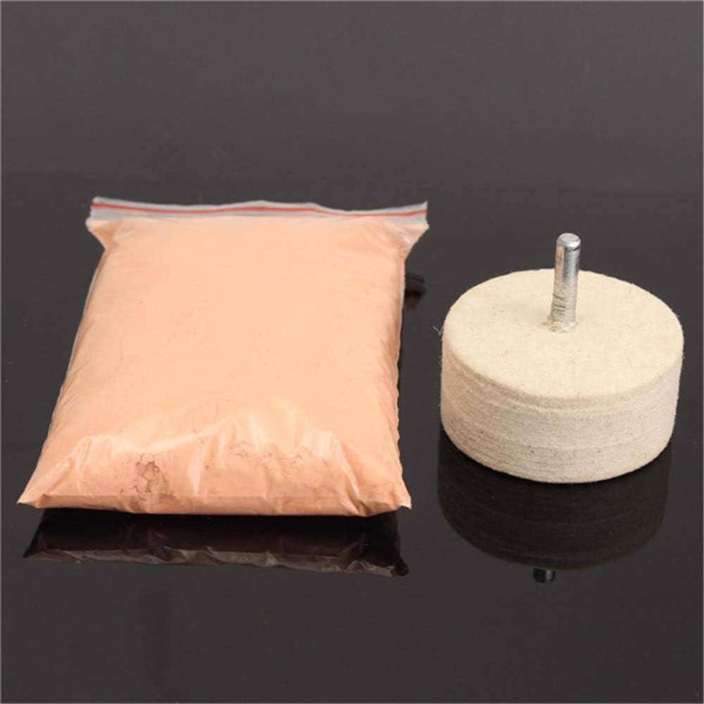 Belupai Poudre de polissage en oxyde de c/érium 230 g avec roue de polissage en feutre 5,1 cm