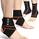 Ankle Support Kit - Ankle Brace Straps (1 Pair) & Ankle Compression Sleeves with Arch Supports (1 Pair) – Best for Sports, Injury Recovery, Reduce Swelling, Ankle Strain & Sprains Fatigue (Medium)
