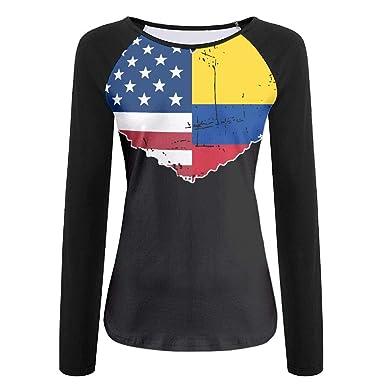 2c60b6770a7 Youbah-01 Women's Long Sleeve Tee,Colombia USA Flag Heart Crew-Neck Tshirt