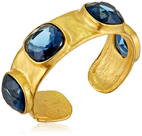 Kenneth Jay Lane Satin Gold and Sapphire Hammered Hinged Cuff Bracelet