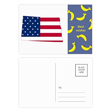 Amazon.com : North Dakota USA Map Stars Stripes Flag Shape Banana ...