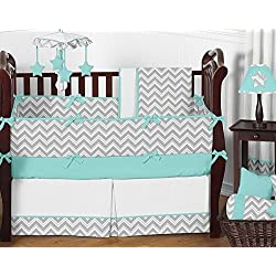Sweet Jojo Designs Gray and Turquoise Chevron Zig Zag Baby Bedding 9 pc Boy Crib Set