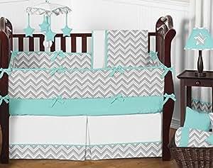 Sweet Jojo Designs 9-Piece Gray and Turquoise Chevron Zig Zag Gender Neutral Baby Bedding Boy or Girl Crib Set