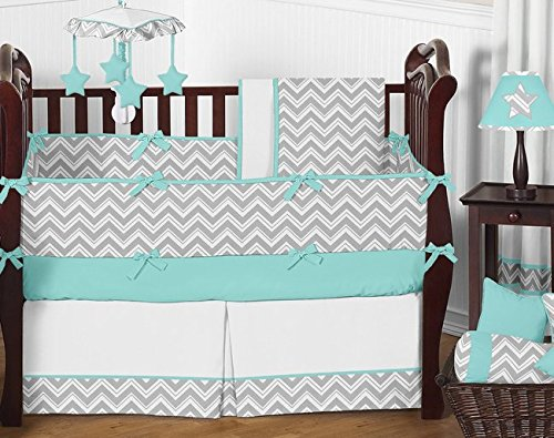 Gray and Turquoise Chevron Zig Zag Gender Neutral Baby Bedding Boy or Girl Crib Set