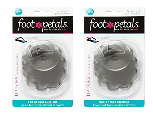 Foot Petals Women's Tip Toes® For Flip Flops 2-pr Technogel Clear OS none (Petals Toes Tip Foot)