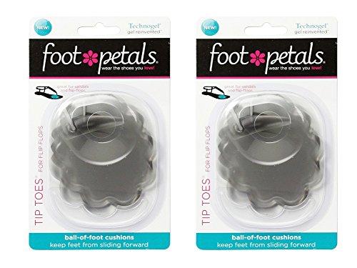 Foot Petals Women's Tip Toes® For Flip Flops 2-pr Technogel Clear OS none (Foot Tip Petals Toes)