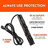 ECHOGEAR Power Strip Surge Protector with 8 Rotating-Outlets, Cable Management, Flat Plug & Fireproof Technology -2160 Joules of Surge Protection - Expand Your Outlet Capacity & Keep Your Gear Safe
