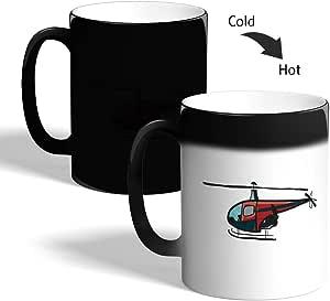 كوب القهوة السحري، اسود،  بتصميم طائرة مروحية
