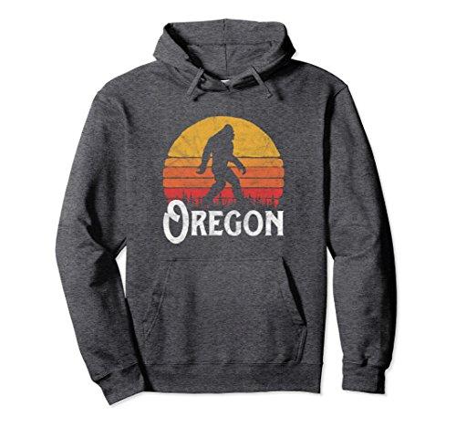 Unisex Retro Oregon Bigfoot Silhouette Sun Hoodie - Believe! Large Dark ()