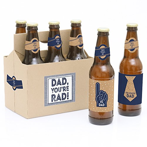 White Label Beer - Big Dot of Happiness My Dad is Rad - 6 Father's Day Beer Bottle Labels and 1 Carrier