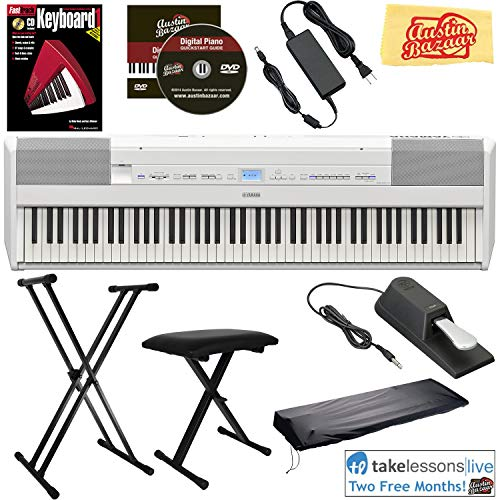 Yamaha P-515 88-Key Digital Piano – White Bundle with Adjustable Stand, Bench, Sustain Pedal, Dust Cover, Instructional Book, Online Lessons, Austin Bazaar Instructional DVD, and Polishing Cloth