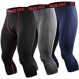 Neleus Men's Compression 3/4 Capri Running Leggings Sports Tights,6057,Black (red Stripe),Grey,Navy Blue,XL,EU 2XL