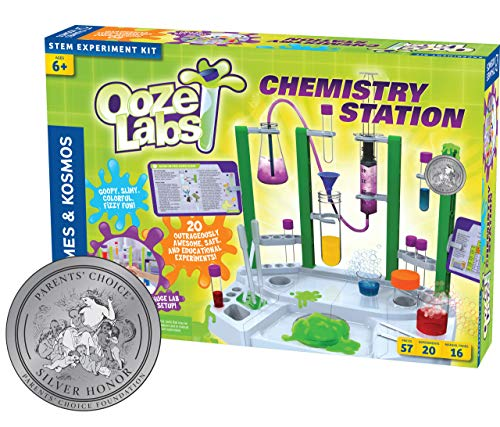 Thames & Kosmos Ooze Labs Chemistry Station Science Experiment Kit, 20 Non-Hazardous Experiments Including Safe Slime, Chromatography, Acids, Bases & More (Best Chemistry Kits For Kids)