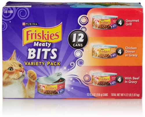 Friskies Wet Cat Food, Meaty Bites, 3-Flavor Variety Pack, 5.5-Ounce Can, Pack Of 12