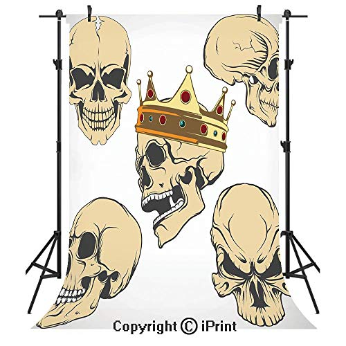 Skull Decor Photography Backdrops,Skulls Different Expressions Evil Face Crowned Death Monster Halloween,Birthday Party Seamless Photo Studio Booth Background Banner 10x20ft,Sand Brown -