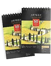 ARTEZA Cahier dessin A5 (14,8 x 21,0 cm | 2 carnets avec 100 feuilles en tout | Carnet croquis de 50 pages | Papier sans acide haut grammage 130 g/m2 | Carnet dessin reliure spirale