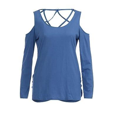 Damen Netz Langärmelig V-Ausschnitt Bauchfreies Top T-Shirt Bluse Freizeit