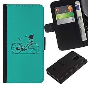 All Phone Most Case / Oferta Especial Cáscara Funda de cuero Monedero Cubierta de proteccion Caso / Wallet Case for Samsung Galaxy S5 Mini, SM-G800 // Bicycle Vintage Minimalist Hipster