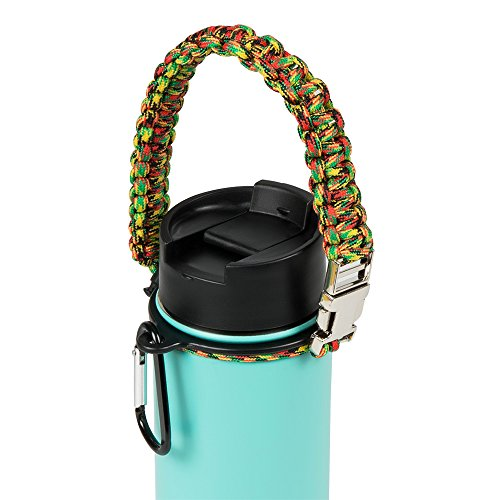 BSL Comfy Self-Locking Paracord Handle Grip for Wide Mouth Hydro Flask Water Bottles, Tumblers, Swell & More, Safe, Extra Durable Water Bottle Carrier for Running, Walking, Hiking