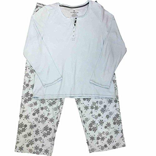 Liz Claiborne Womens Blue & Gray Flannel Pajamas Filigree & Snowflake Sleep Set from Liz Claiborne
