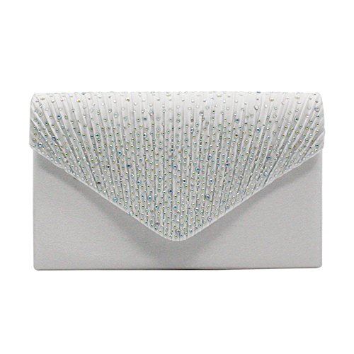 Mariage Strass Party Soiree Enveloppe Soiree de Handbag Pochette Sac Chaine Blanc Epaule BqaOx