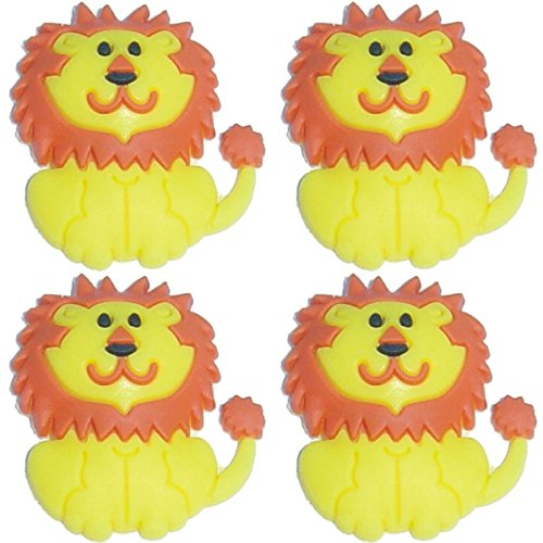 Four (4) of Lion Shoe Rubber Charms for Wristbands and Shoes