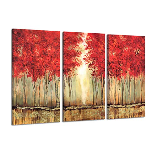 - Hardy Gallery Abstract Artwork Picture Scenery Paintings: Sunlit for Changing Seasons with Red Trees in Bloom Forest Acrylic Painting Print Multi-Piece Image on Canvas for Walls