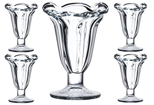 Tulip Sundae and Dessert Cup, PACK OF 4 Highest Quality Ultra Clear See Through Thick Solid Base Glass 7 Ounces, Set of 4