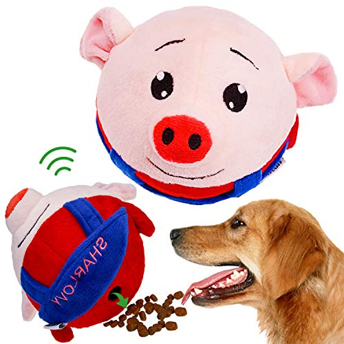 IQ Treat Ball Interactive Food Dispensing Dog Toy, Increase IQ & Mental Excited Dog Squeaky Ball Pig Plush Toy…