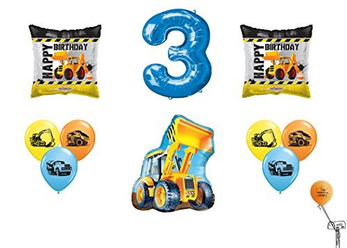 partybyspursgrl Happy 3RD Birthday Construction Mega Balloon