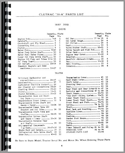 Oliver 30A Cletrac Crawler Parts Manual (1928-1935)