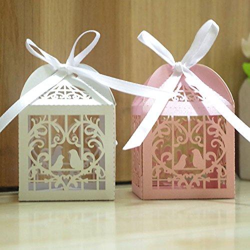 50 pcs Loveing corte láser DIY Candy para galletas cajas de regalo ...