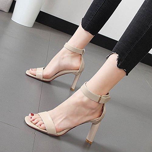 GTVERNH Damenschuhe Einfach mit mit mit Nackten Zehen Sandalen Damenschuhe Sommer Wild Wort Dicke 18Cm Hohen Absatz. 6ff419