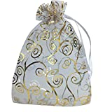 YIJUE 100pcs 4x6 Inches Drawstrings Organza Gift Candy Bags Wedding Favors Bags (White with Gold)