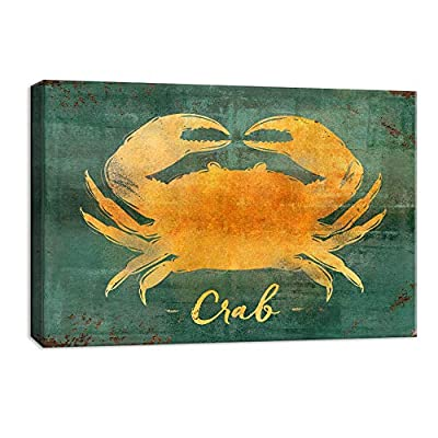 Canvas Wall Art Abstract Crab Painting Artwork for Home Decor Framed 12x18 inches