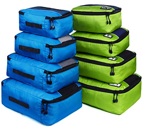 8 Set Packing Cubes, Travel Luggage Bags Organizers Mixed Color Set(green/blue)