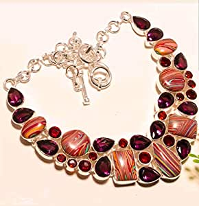 Rainbow Jasper, Amethyst natural gemstone sterling silver jewelry necklace