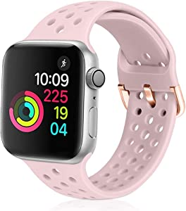 XFYELE Compatible with Apple Watch Band 42mm 44mm, Soft Breathable Sport Silicone Replacement Strap Compatible for iWatch Series 6, 5, 4, 3, 2, 1 for Women and Men (Pink Sand, 42mm/44mm)