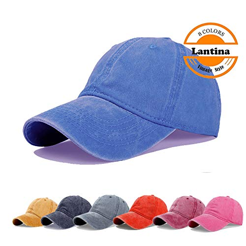 (Lantina Unisex Men Women Adjustable Baseball Cap Pigment Dyed Curved Brim Distressed Hat with Ponytail Hole Hip Hop Style Flexfit Summer UV Sun Protection UPF30+ - One Size Fits All Blue)