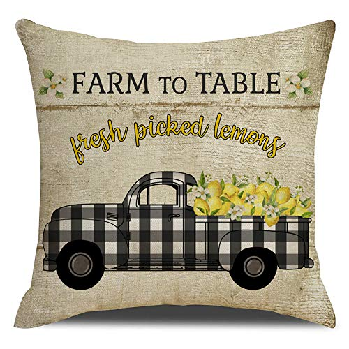 Vintage Fabric Pillows - KACOPOL Retro Vintage Wood Background Farm Fresh Lemon Buffalo Check Truck Pillow Covers Summer Farmhouse Decorative Cotton Linen Throw Pillow Case Cushion Cover 18