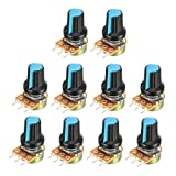 uxcell 10Pcs 20K Ohm Variable Resistors Single Turn Rotary Carbon Film Taper Potentiometer with Knobs