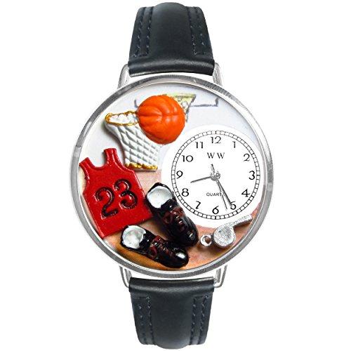 Basketball Black Leather And Silvertone Watch #WG-U0820009