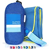 Super Towel for Sports, Travel & Beach — Extra Large, Lightweight, Compact, Absorbent, Quick-Drying, Soft Microfiber Suede — For indoors, outdoors, pool, gym, camping (Blue+Yellow, XL (60x32