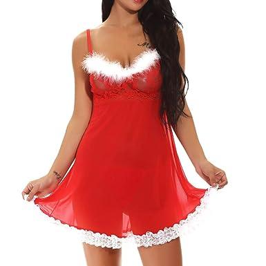 ada9c251a Womens Christmas Lingerie Sexy Santa Babydoll Lace Hem Chemise Sleepwear  Dress Pajama (S