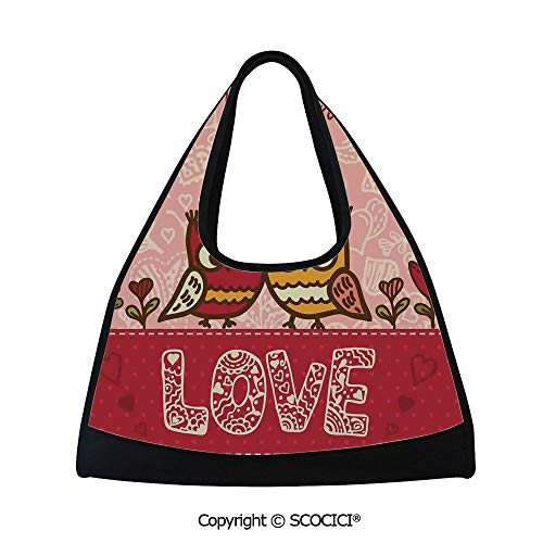 Short distance travel bag,Owls in Love Print Cute Partners Couples Boho Style Hearts Flowers Dots,Easy to Carry(18.5x6.7x20 in) Pink Red Yellow