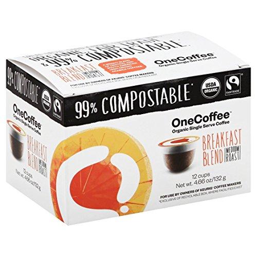 OneCoffee Organic Single Serve Coffee for Keurig Coffee Makers- 1 Box of 12 Cups Breakfast Blend Medium Roast