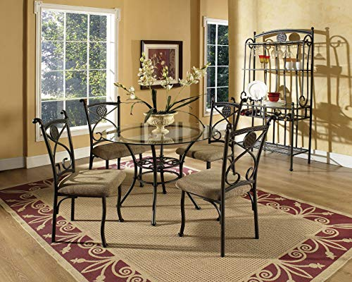 (Steve Silver Company Brookfield Glass Top Dining Table, 42