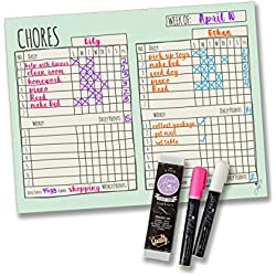 "Jennakate Magnetic Multiple Child Behavior Reward Chore Chart-Daily Household Chore Checklist-Job Chart- Dry Erase- 14""x18""- FREE Dry Erase Chalk Markers"