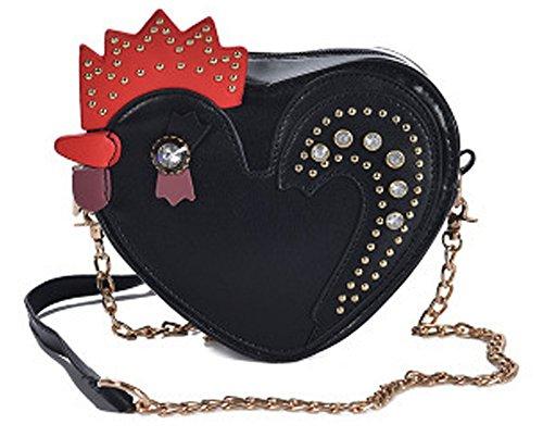 Heart Shoulder Body Cute Crystal Handbags Messenger Shape QZUnique Bag Women's Cross Black Cock SBxwvOvAIq