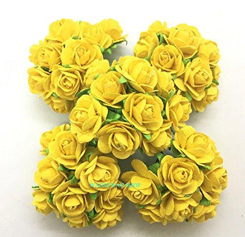 50 pcs Yellow Rose Mulberry Paper Flower 20 mm Scrapbooking Wedding Doll House Supplies Card. by WADSUWAN Shop